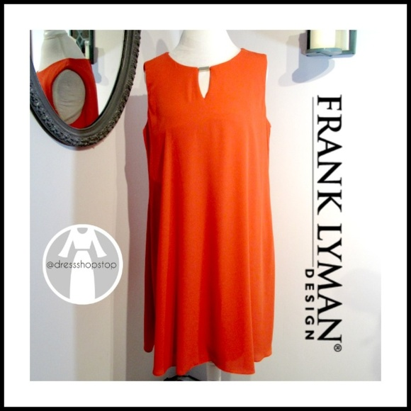 Frank Lyman Dresses & Skirts - Frank Lyman// Orange Shift // Gold Accent // NWOT